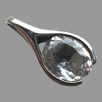 REDUCED Modernist Sterling & White Sapphire Pendant