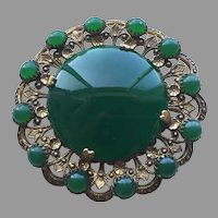 Vintage Czech Or Austrian Cabochon Green Stone Pin