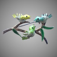 Vintage Enamel & Silver Birds On Branch Pin