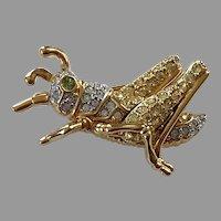 REDUCED Swarovski Gold Tone Pave Crystal Grasshopper
