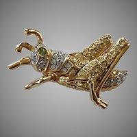 Swarovski Gold Tone Pave Crystal Grasshopper