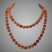 Vintage Carnelian Agate Beaded Necklace 14K Clasp