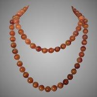 Vintage Carnelian Agate Beaded Necklace 14K Clasp