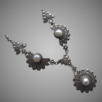 Vintage Art Deco Sterling Pearl Marcasite Necklace