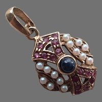 Italian Sterling Vermeil Pendant With Faux Rubies, Pearls, Sapphire