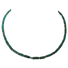 Vintage Native American Turquoise & Sterling Heishi Necklace