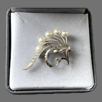 REDUCED Mikimoto Sterling & Akoya Pearl Floral Spray Pin