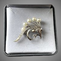 Vintage Mikimoto Sterling & Pearl Pin