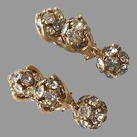 REDUCED Gold Tone & Rhinestone Ball Dangle Earrings