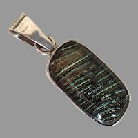 Sterling Dichroic Glass Pendant Aqua Gold Black