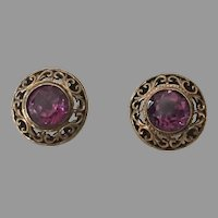 Vintage Gold-Filled Alexandrite Pierced Earrings