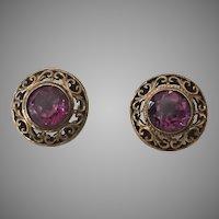 Vintage Gold-Filled Alexandrite Pierced Earrings