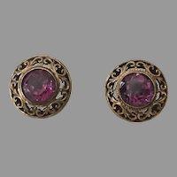 REDUCED Vintage Gold-Filled Faux Alexandrite Pierced Earrings