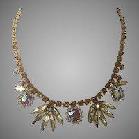 Vintage Amber & Yellow Aurora Borealis Rhinestone Necklace