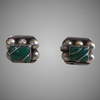 Vintage 1940's Mexican Sterling Green Onyx Earrings