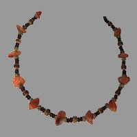 REDUCED Vintage Natural Agate & Exotic Bead Necklace