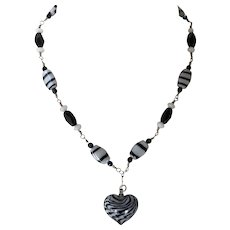 Vintage Sterling Black & White Art Glass Necklace With Heart