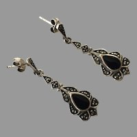 Vintage Sterling Black Onyx Marcasite Dangle Earrings