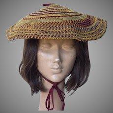 Vintage 1980's Adolfo Woven Chenille Beret Hat