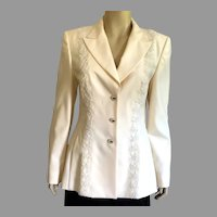 REDUCED Vintage 1980's Escada Winter White Evening Jacket With Faux Pearls & Lace NWT