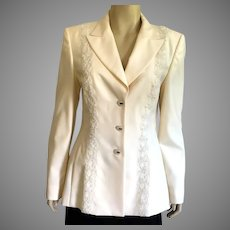 Vintage 1980's Escada Winter White Evening Jacket With Faux Pearls & Lace NWT