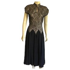 1940's Black Rayon & Lace Party Dress