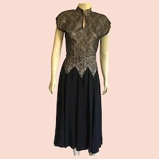 1940's Black Rayon & Lace Party Dress