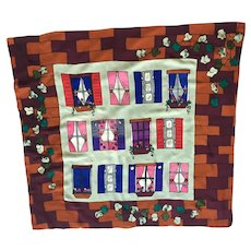 Hand  Painted Silk Scarf With Windows, Shutters Curtains & Window Boxes