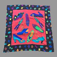 Vintage Silk Bright Colored Scarf With Shoe Motif