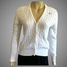 Vintage White Cotton Izod Lacoste Cable Knit Sweater
