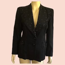 Vintage 1940's Black Beaded Jacket