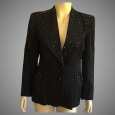 Vintage 1940's Black Beaded Jacket