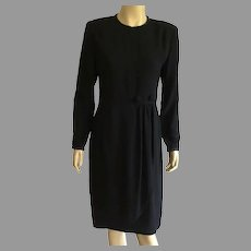 REDUCED Vintage 1980's Black Rayon Crepe Evening Dress
