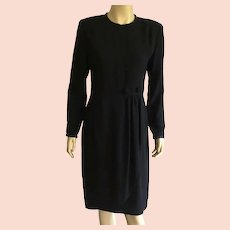 Vintage Black Rayon Crepe Evening Dress