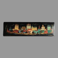 REDUCED Vintage Russian Lacquer Box With Kremlin Scene Artist Signed