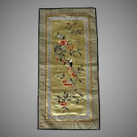 Vintage Chinese Silk Embroidered Panel Table Cover