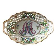 Vintage Hand Painted Bavaria Pierced Porcelain Nut / Candy Dish