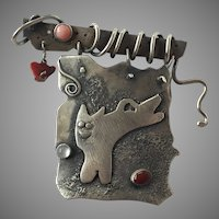 Artist Made Silver Cat Pin With Moonstone, Coral & Carnelian