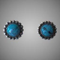 1940's Sterling Silver & Turquoise Screw Back Earrings