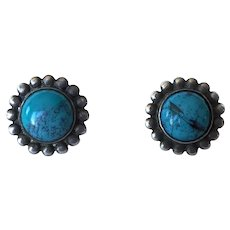 1940's Sterling Silver & Turquoise Screw Back Earrings