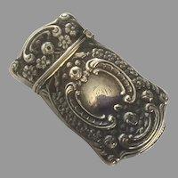 Art Nouveau Sterling Match Safe Vesta With Rosebuds