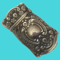 Art Nouveau Sterling Match Safe Vesta With Rosebuds