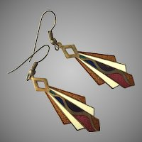 Art Deco Guilloche Enamel Earrings
