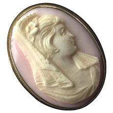 Pink & White Shell Sterling Cameo Pin / Pendant