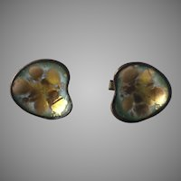 Hogan Bolas Mid-Century Enamel On Copper Cufflinks