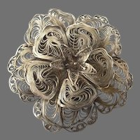 Vintage Sterling Silver Filigree Floral Pin