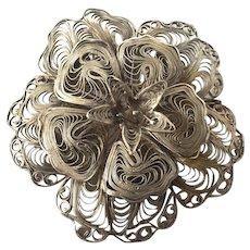 Vintage Sterling Silver Filigree Floral Pin