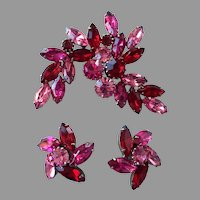 REDUCED Large Pink & Red Rhinestone Pin & Earrings Set