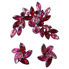 Large Pink & Red Rhinestone Pin & Earrings Set
