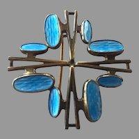 Norway Sterling Blue Enamel Pin By Albert Scharning